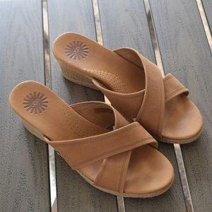 UGG Gwyn Espadrille Wedge Sandal Size 9 Brown